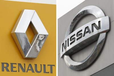 ©Kyodo/MAXPPP - 14/02/2019 ; Combined photo taken in Tsukuba, northeast of Tokyo, on Feb. 13, 2019, shows the logos of Nissan Motor Co. (R) and Renault SA. (Kyodo) ==Kyodo (MaxPPP TagID: maxnewsworldfour741343.jpg) [Photo via MaxPPP]